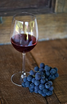 Glass of red wine and grape bunch