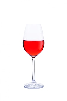 Glass red wine isolated on white.