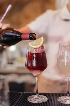 Glass of red wine sangria in a restaurant