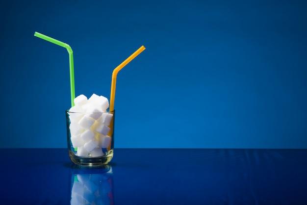 Glass of refined sugar