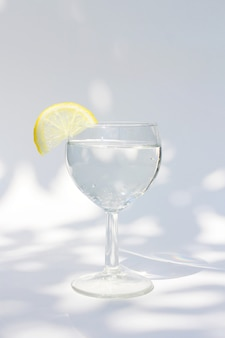 A glass of refreshing cold water with a slice of lemon in summer.
