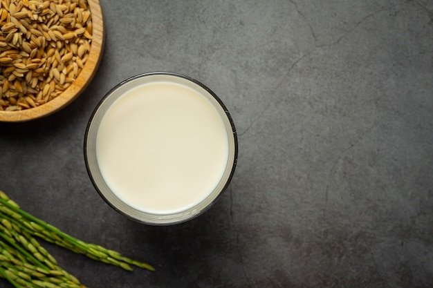Bicchiere di latte di riso con pianta di riso e semi di riso messo sul pavimento scuro