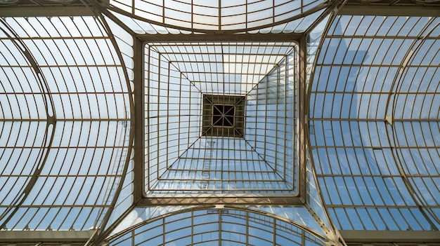 Glass roof of crystal palace in the retiro park, madrid, spain.