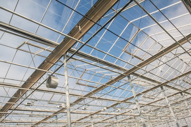 현대 온실에 팬이 있는 유리 지붕