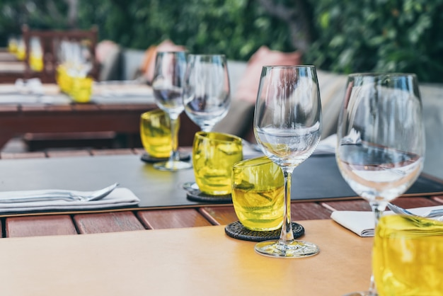 Glass set on dinning tables