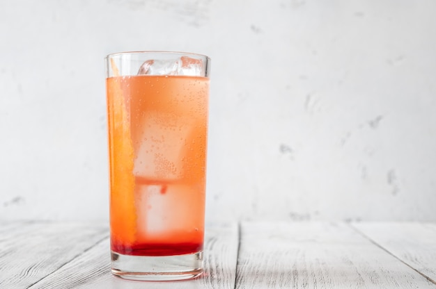 Glass of shirley temple non-alcoholic cocktail close-up