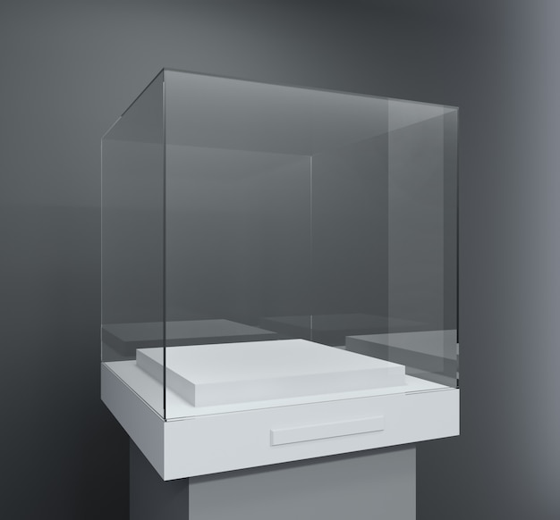 Glass showcase in the form of a cube
