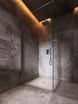Glass shower room on a dark brown wall background. 3d rendering