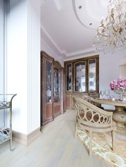 Стеклянный сервант классической формы в столовой с красивой посудой. буфет деревянный, резное дерево. 3d рендеринг