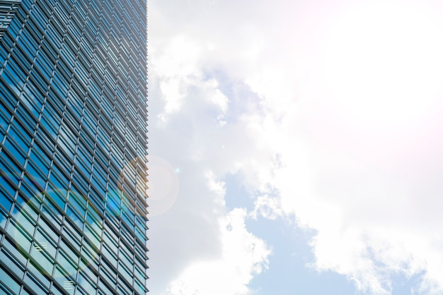 Glass skyscrapers in the city center, modern buildings,