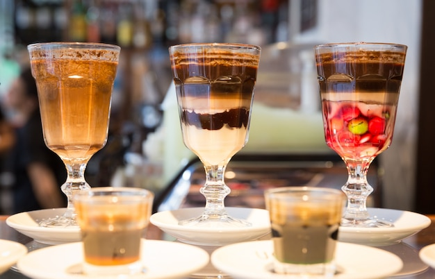 Glass of special sweet coffee desert in cafe