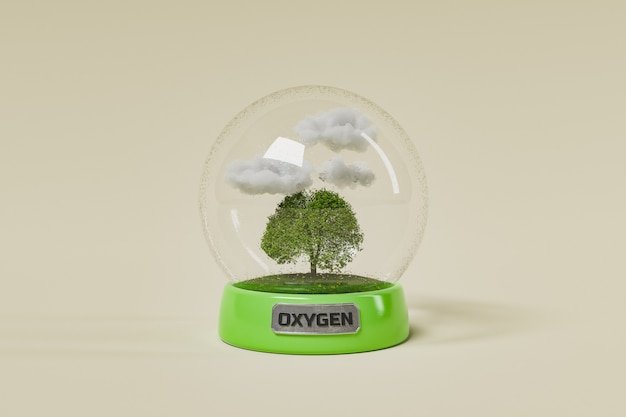 Glass sphere with a ecosystem inside Premium Photo