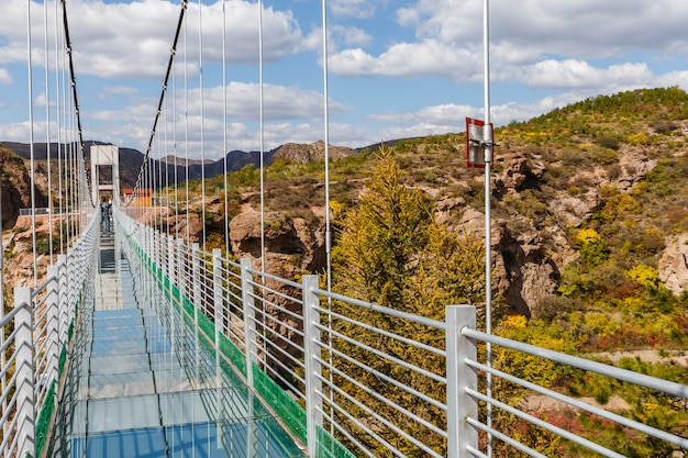 Glass suspension bridge in the mountains