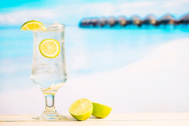 Glass of tasty chilling drink with lime and sliced citrus
