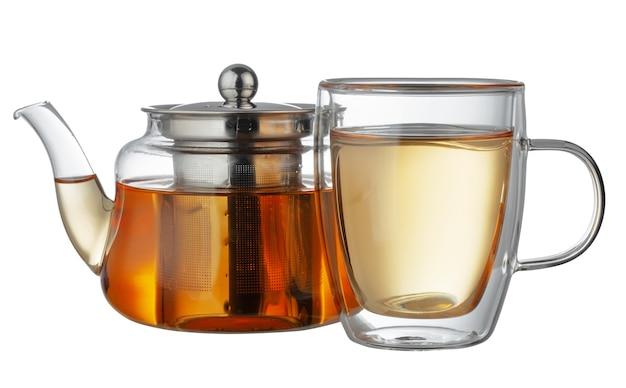 ガラスのティーポットとお茶が分離されたガラスのカップ