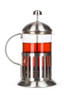 Glass teapot isolated on white background studio shot