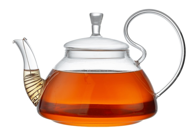 Glass teapot with black tea isolated on white background