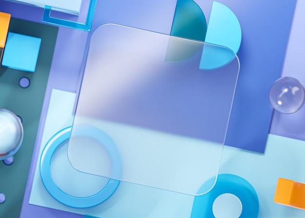 ガラステンプレートモックアップジオメトリ形状抽象的な構成アートブルー3dレンダリング