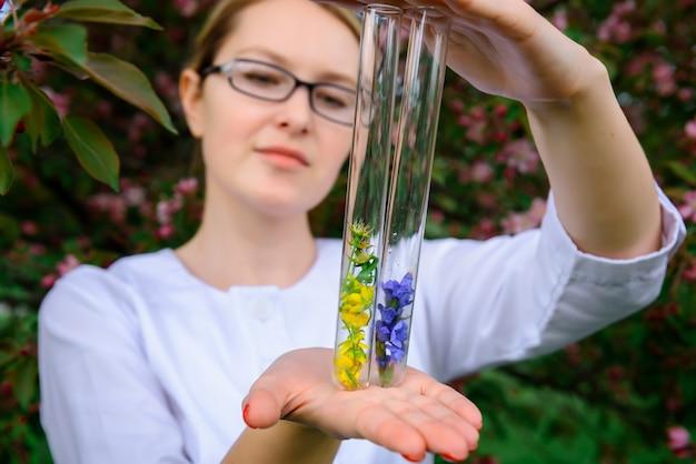 花のサンプルが入ったガラス製試験管、クローズアップ。フラスコを持っている女性の手。植物、薬草、自然の花の香りの研究。広告香水業界。