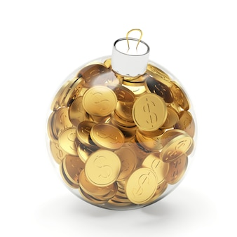 Glass transparent christmas ball full of dollar coins