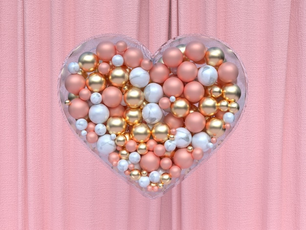 Glass transparent heart shape gold white pink metallic ball