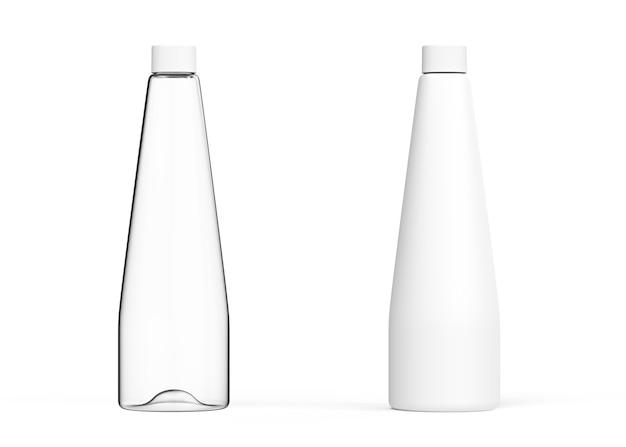 흰색 배경에 유리 투명 흰색 병 현실적인 3d 렌더링 템플릿