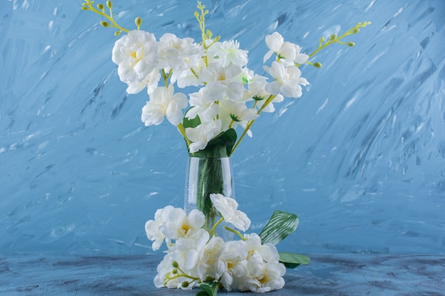 Glass vase of white natural flowers on blue.
