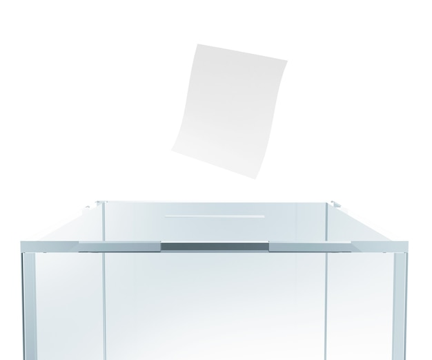 Glass vote box with envelope isolated in 3d rendering