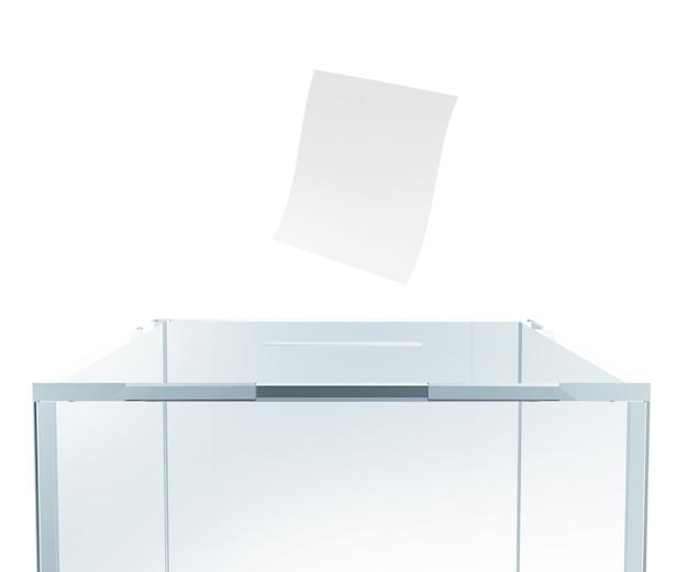 3dレンダリングで分離された封筒付きガラス投票ボックス