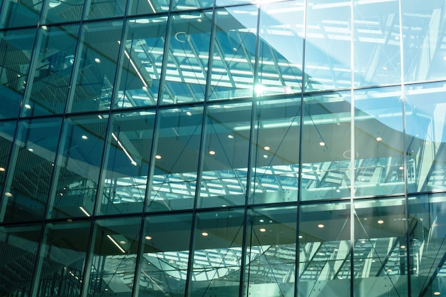Glass wall of mordern office building
