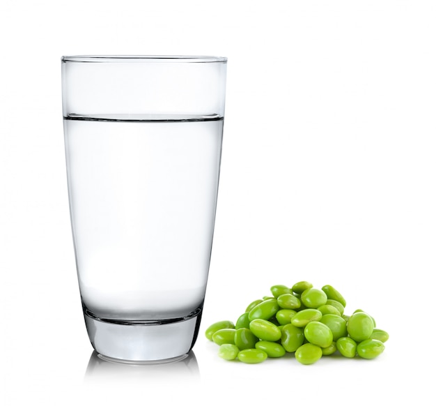 Glass of water and soy isolated