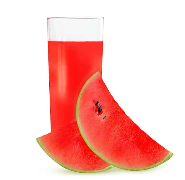 A glass of watermelon juice with ripe watermelon