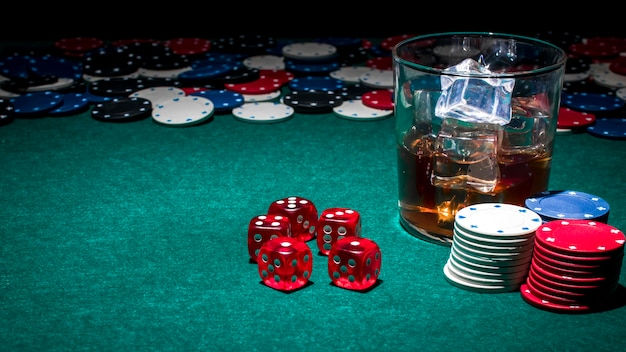 Glass of whiskey on casino table