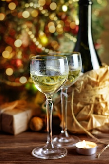 Glass of wine and christmas decoration