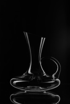 Glass wine decanter. an empty decanter of wine