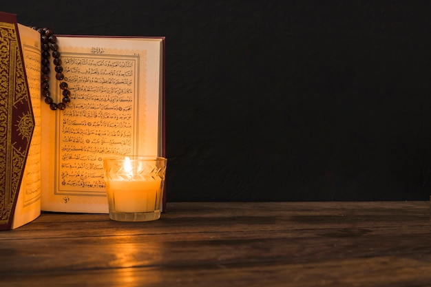 Glass with candle near opened quran
