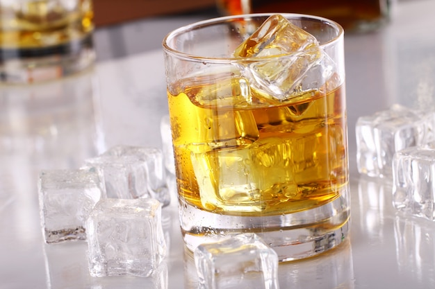 Glass with cold whiskey