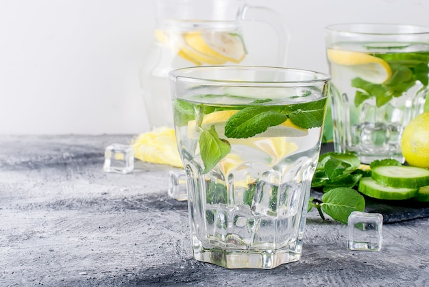 Glass with detox fresh organic cucumber, lemon and mint water