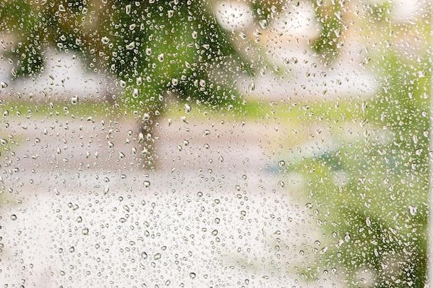 雨の滴をガラス