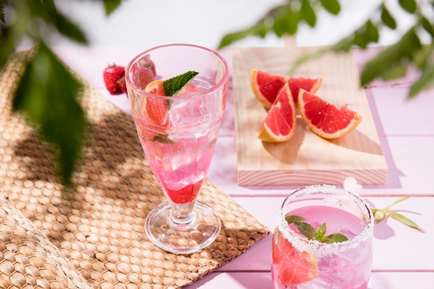 Glass with fresh fruits drinks