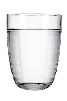 Glass with fresh water on white