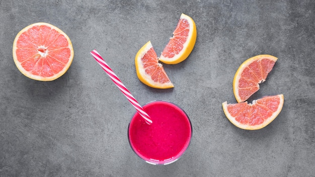 Glass with grapefruit smoothie