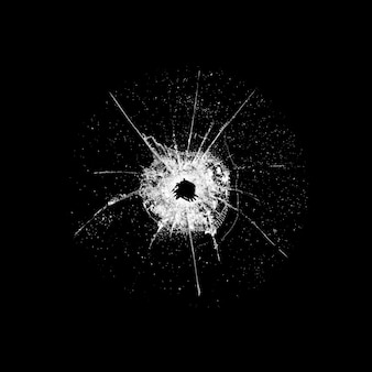 Glass with a hole and cracks isolated on black