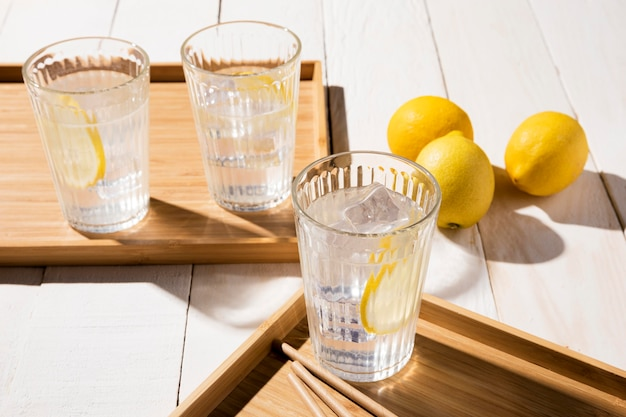 Glass with lemon drink