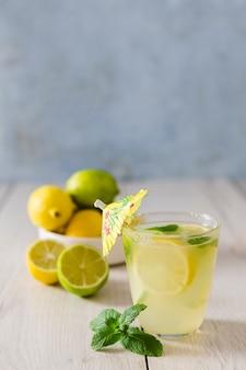 Glass with lemonade and umbrella