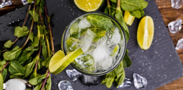 Glass with mojito, from above