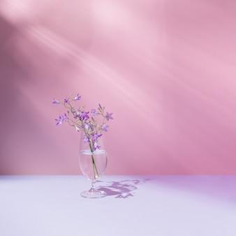 투명한 액체와 아름다운 보라색 들판 꽃이 있는 유리. 활기차고 파스텔 핑크 배경입니다. 최소한의 자연, 미학. 자연적인 태양 광선과 그림자.