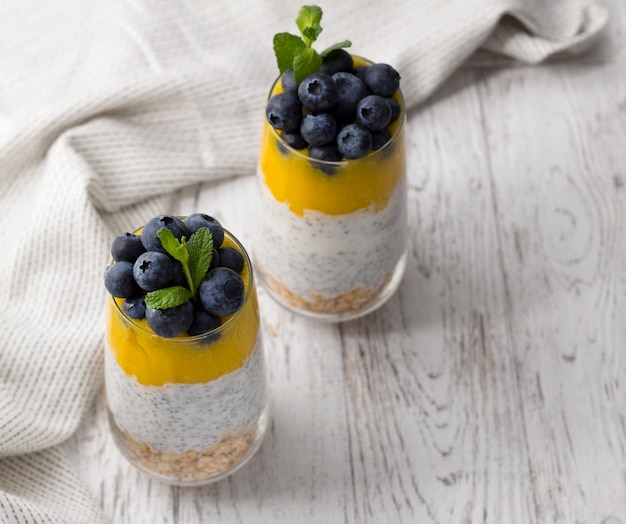 Glass of yogurt with blueberries and mango mousse, chia seed and oatmeal.