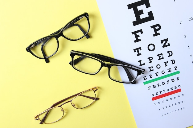 色付きの背景上面図で視力をチェックするためのメガネとテーブル