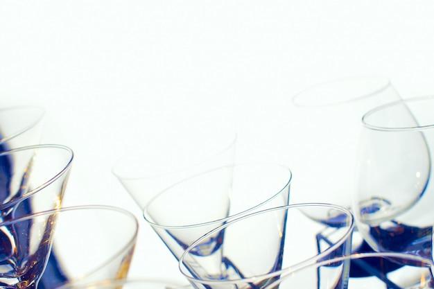Glasses on bar.